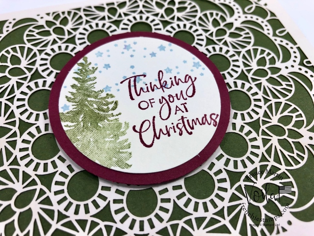Christmas card with the Bird Ballad Laser cut. Stamp set from the Most Wonderful Time Product Meldley and the Itty Bitty Christmas. All product by Stampin'Up! available at frenchiestamps.com #stampinup #stamping #frenchiestamps #cardmaking #papercrafts #handmadecards