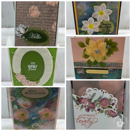 Showcase of the Perennial Essence Vellum paper with Frenchies' Team. Stamp set Floral Essence, Tea Together, Forever Lovely. #stampinup #stamping #frenchiestamps #cardmaking #papercrafts #handmadecards