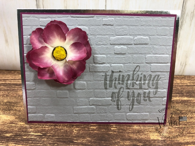 How to make a lovely flower with the Pressed Petals Specialty Washi Tape. The background is using the Brick and mortar embossing folder. All supplies is by Stampin'Up! available at frenchiestamps.com #stampinup #stamping #frenchiestamps #cardmaking #papercrafts #handmadecards #stampingtechniquehowtovideo