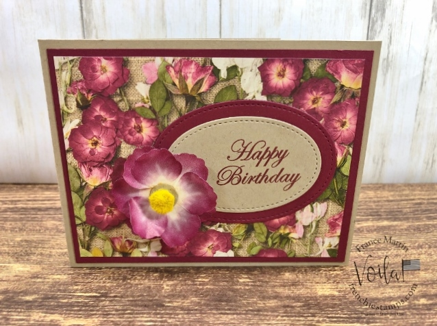 How to make a lovely flower with the Pressed Petals Specialty Washi Tape. The designer paper is the Pressed Petals. All supplies is by Stampin'Up! available at frenchiestamps.com #stampinup #stamping #frenchiestamps #cardmaking #papercrafts #handmadecards #stampingtechniquehowtovideo