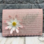 Scalloped Note Cards with Daisy Land. Use vellum emboss cardstock with the 3D Scripty embossing Folder. Both size of the daisy punch are used to build the daisy. All product by Stampin