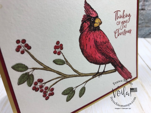 Simple way to color the Cardinal from the stamp set Toile Christmas