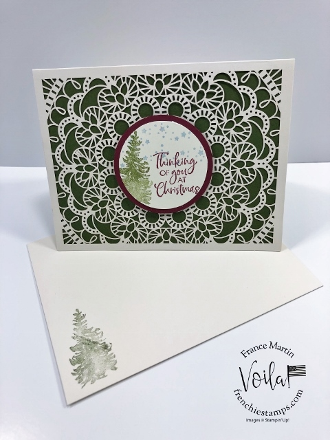 Christmas card with the Bird Ballad Laser cut. Stamp set from the Most Wonderful Time Product Medley and the Itty Bitty Christmas.