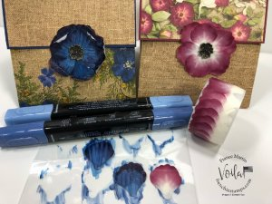 How to change the colors of the Pressed Petals Specialty Washi Tape with stamping Blends.