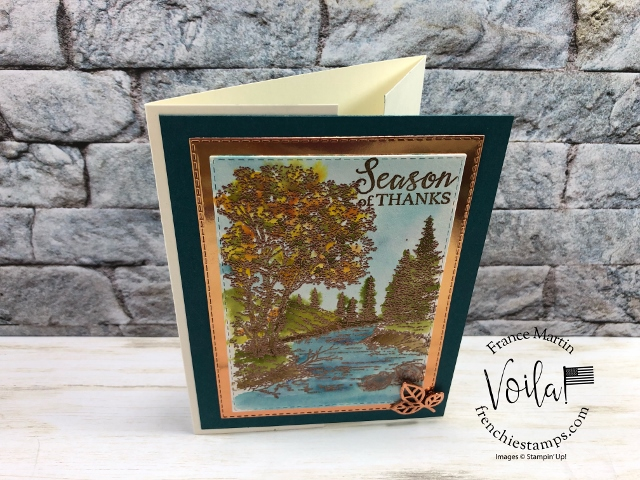 Heat Emboss made it simple for watercolor with the stamp set Peaceful Place. Gated fold for this lovely card.