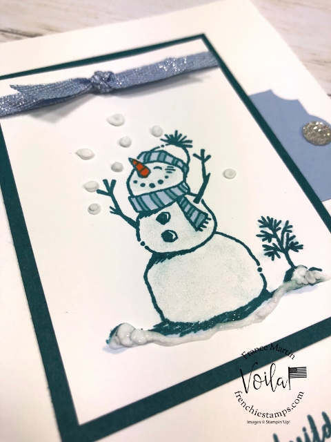 How to apply the Snowfall Accents Puff Paint with the heat Tool. Stamp set Snowman Season.