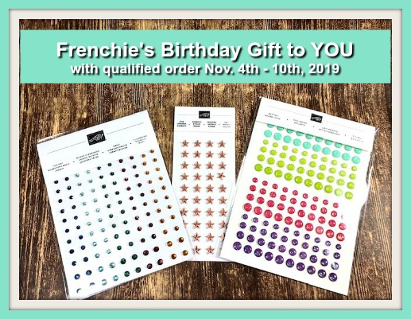 Birthday Gift from Frenchie. Star Designer Elements, Glitter Enamels Dots and Holiday Rhinestone.