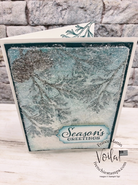 Dryer Sheet for a snow look on the Peaceful Boughs stamp set.