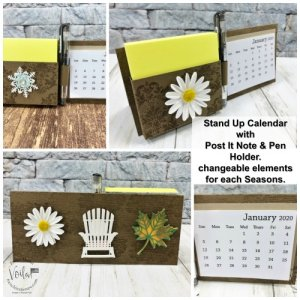 Stand Up Calendar with Post It Note Holder
