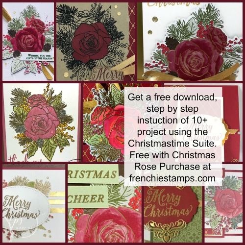 Christmastime Suite, Christmas Rose free download with the purchase of the Christmas Rose Stamp set at frenchiestamps.com