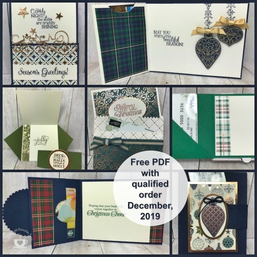 Frenchie Stamp customer Appreciation for December. Six different gift card holder and one box holding chocolate and gift card.