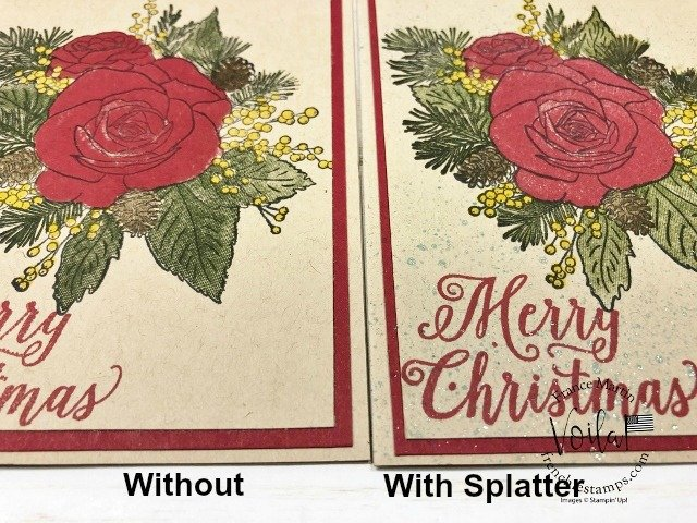 How to add some splatter onto your Christmas Rose Card. Simple and easy way with aqua painter, ink, alcohol and Wink of Stella.