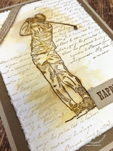 Masculine vintage card with the Clubhouse stamp set and Very Versailles.
