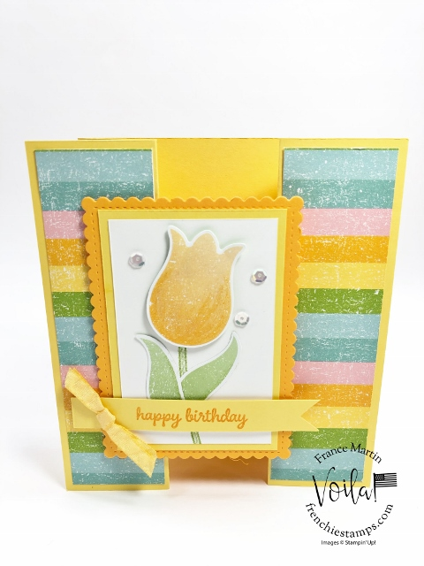 New release coordination product by Stampin'Up! February 4th 2020. Coordination Pleased As Punch Designer paper and Timeless Tulips Stamp set and Tulip Builder Punch.