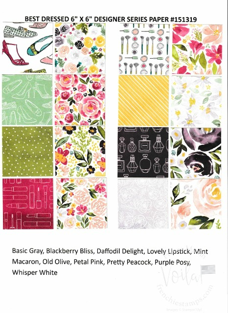 Best Dress Designer Paper by Stampin'Up!. Chart with all prints and coordinate colors.