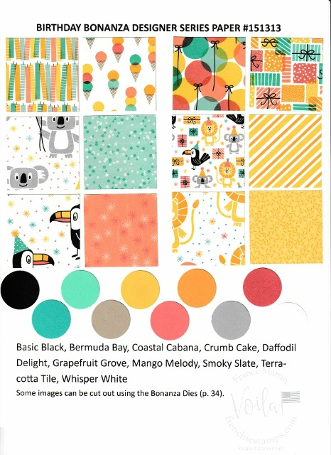 Birthday Bonanza Designer Paper by Stampin'Up!. Chart with all prints and coordinate colors.