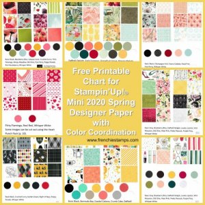 All Designer Paper by Stampin'Up!. 2020 Spring Mini catalog Chart with all prints and coordinate colors.