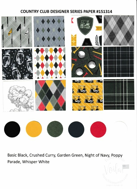 Country Club Designer Paper by Stampin'Up!. Chart with all prints and coordinate colors.