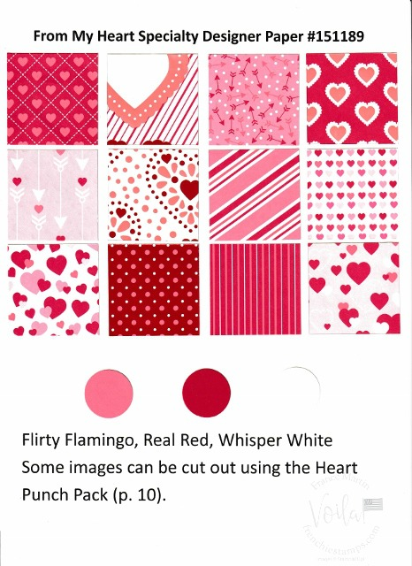 From the Heart Designer Paper by Stampin'Up!. Chart with all prints and coordinate colors.