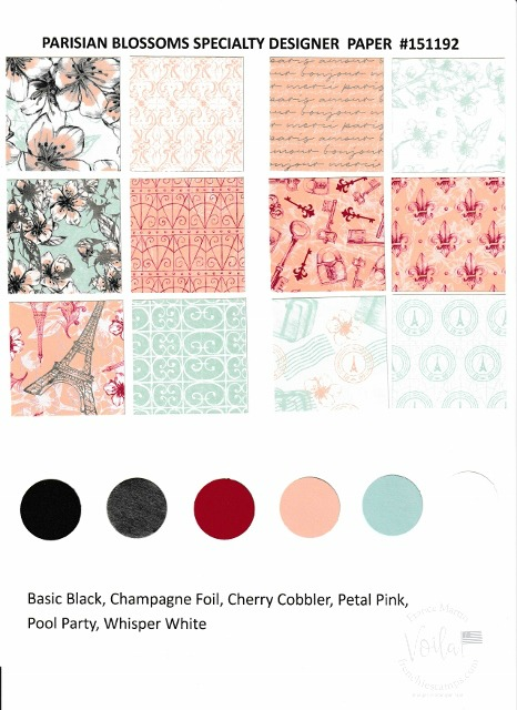 Parisian Blossoms Designer Paper by Stampin'Up!. Chart with all prints and coordinate colors.