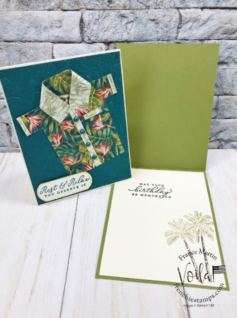 Simple masculine card with the Tropical Oasis and how to make a tropical Shirt.