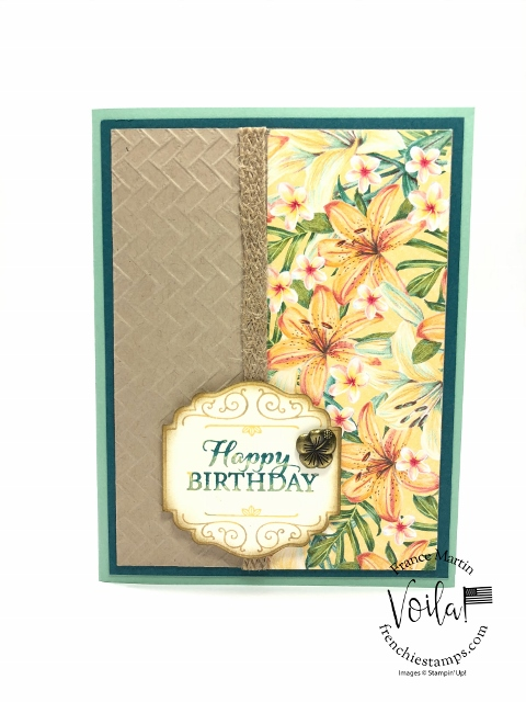 Simple card with the Tropical Oasis Designer paper, Layered with Kindness stamp set and Embossing folder the Coastal Weave