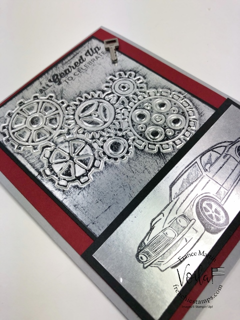 How to emboss with detail dies and a silicone craft sheet. Geared Up Garage stamp set and Garage Gears Dies.