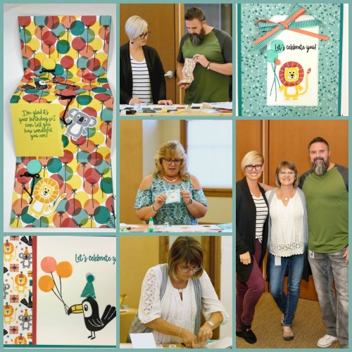 Frenchie Visit at Stampin'Up! home office. Fun battle of the stamp Birthday Bonanza with Sara CEO of Stampin'Up! and her hubby Sean, Holly and Frenchie. Stamping is lots of fun.