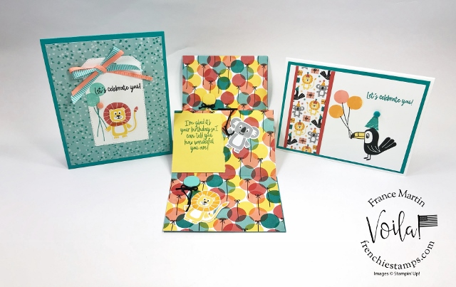 Frenchie Visit at Stampin'Up! home office. Fun battle of the stamp Birthday Bonanza with Sara CEO of Stampin'Up! and her hubby Sean, Holly and Frenchie.
