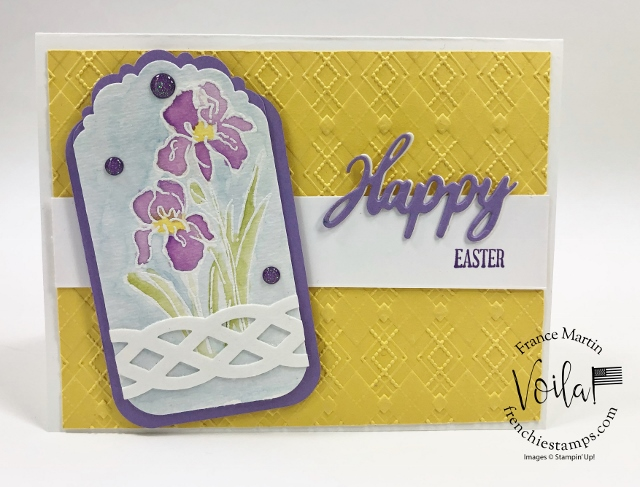 Soft Easter card with the Inspiring Iris and Delightful Tag Topper punch.