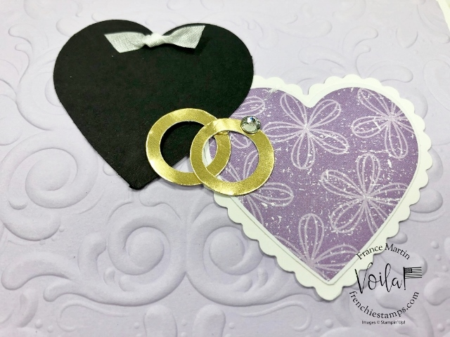 Pleased As Punch Designer paper with the Heart Punch Pack. Wedding Card with rings.