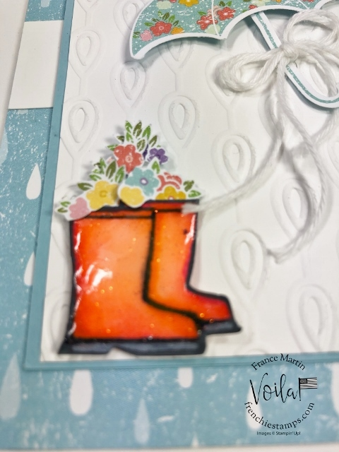 Rubber Boots faux look using Fine-Tip Glue or Crystal Effects. Perfect fit with the Under My Umbrella Bundle and the Pleased As Punch Designer paper.