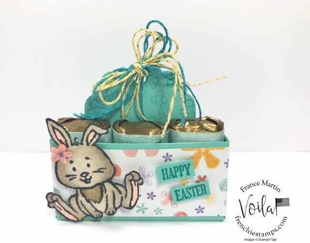 Welcome Easter little Creature on a Little box to hold 6 miniature chocolate bar.