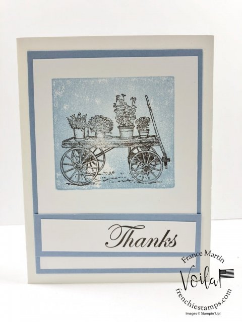 French Countryside for thank you cards. Technique is clear block background