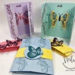 Gate fold card Interactive Fluttering Butterfly when you open it.