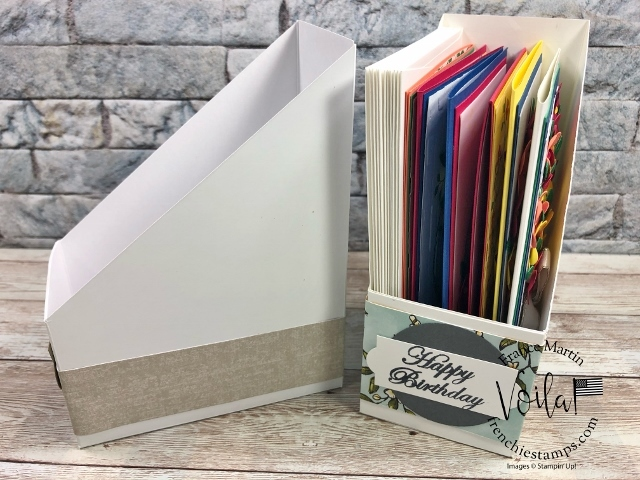 Magazine Holder for cards. This is perfect to organize your hand made greeting cards.