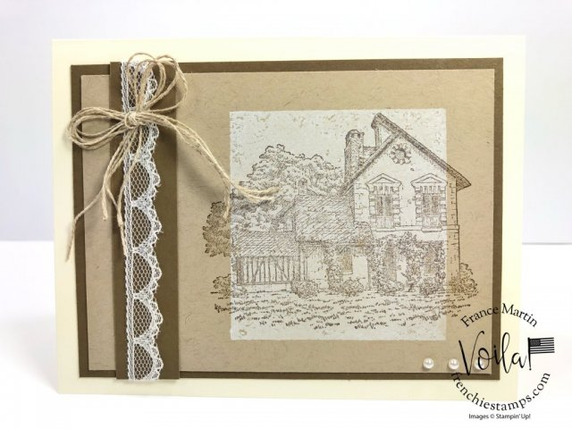 Vintage card with French Countryside stamp set. technique is clear block background. All