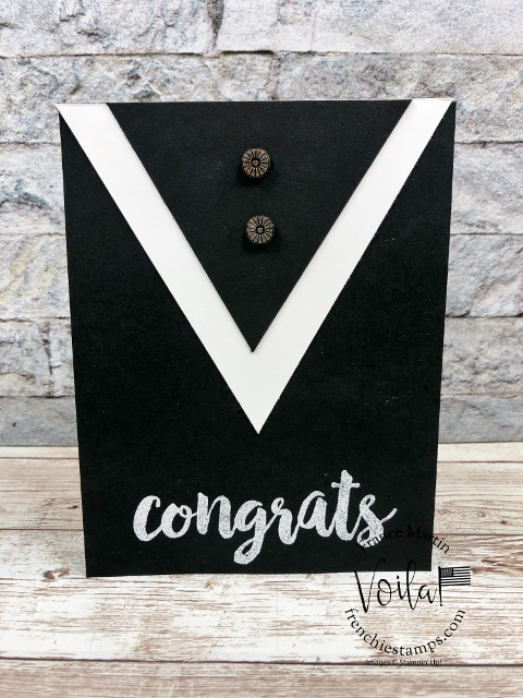 Graduation Gown card with cap and diploma.