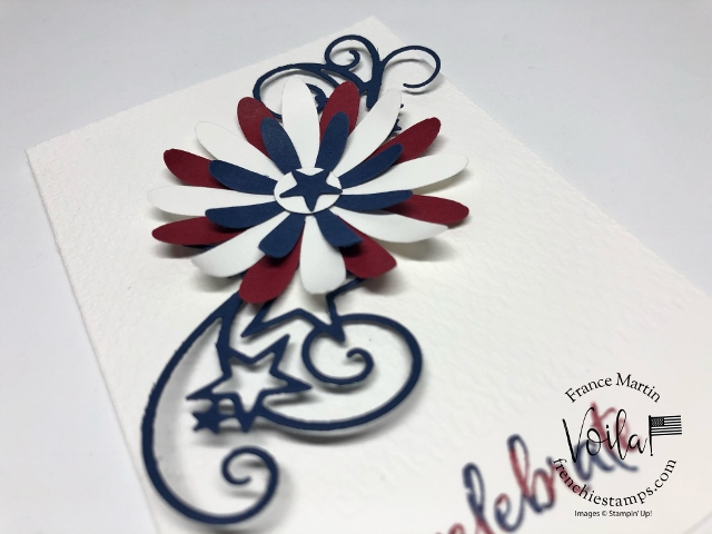 Daisy punches and Stitched Stars Die for a quick 4th of July card.