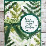 Christmas in July at Frenchiestamps. Fun Fold with Forever Greenery Designer Paper.