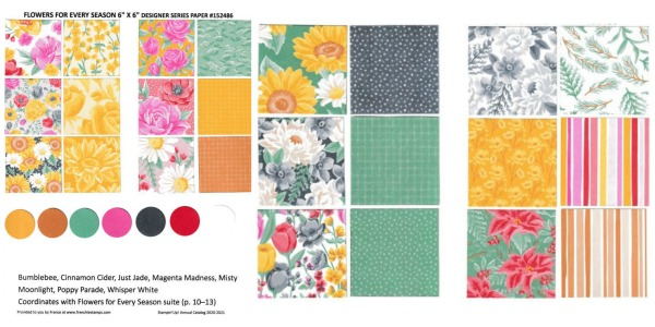 Designer Paper 20-21 Flower For Every Season Chart with color coordination
