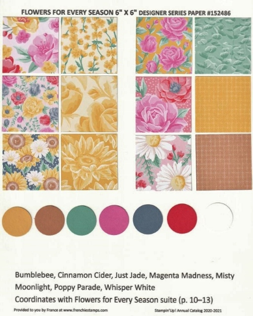 Flower for Every Seasons Designer Paper Chart for Stampin'Up! 2020-2021 Annual catalog.