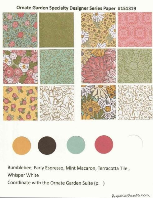 Ornate Garden Designer Paper Chart for Stampin'Up! 2020-2021 Annual catalog.