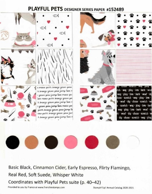 Playful Pets Designer Paper Chart for Stampin'Up! 2020-2021 Annual catalog.