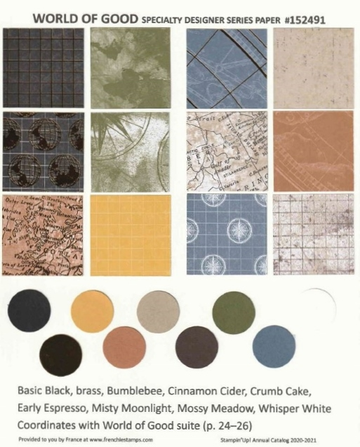 World Of Good Designer Paper Chart for Stampin'Up! 2020-2021 Annual catalog.