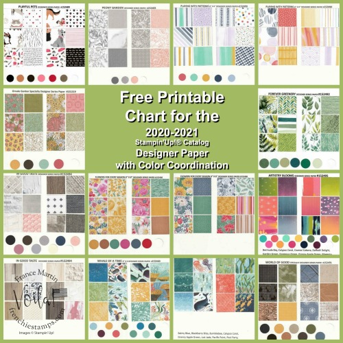Designer Paper Chart for Stampin'Up! 2020-2021 Annual catalog.