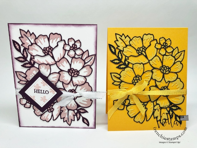 Simple card with the Many Layered Blossoms Die in two tone.