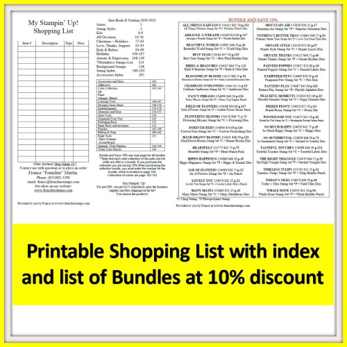 Stampin'Up! 2020-2021 Annual Catalog Shopping List with Index and Bundles list at 10% discount.