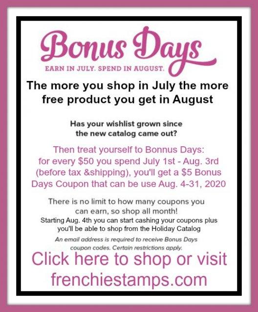 All month of July for every $50 order before tax and shipping Stampin'Up! will send you a coupon of $5 for every $50 to be redeem in August.