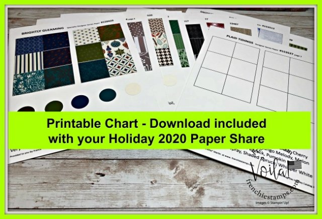 Printable Chart for Stampin'Up! Holiday Aug-Dec 2020 Designer Paper with coordination colors.